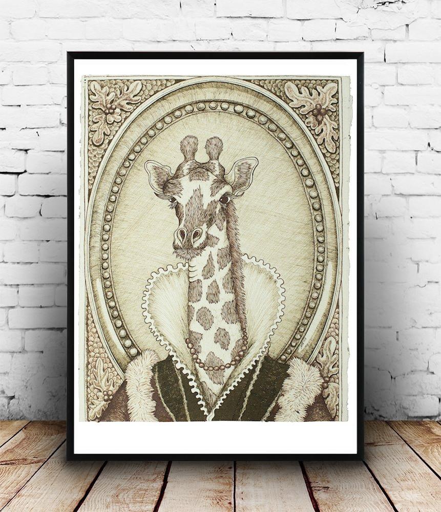 Lady Giraffe - Giclée Print